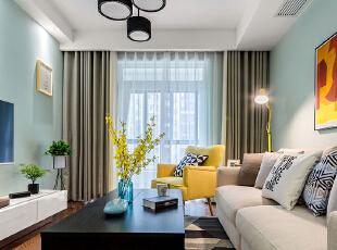 ,客厅,春色,白色,原木色,