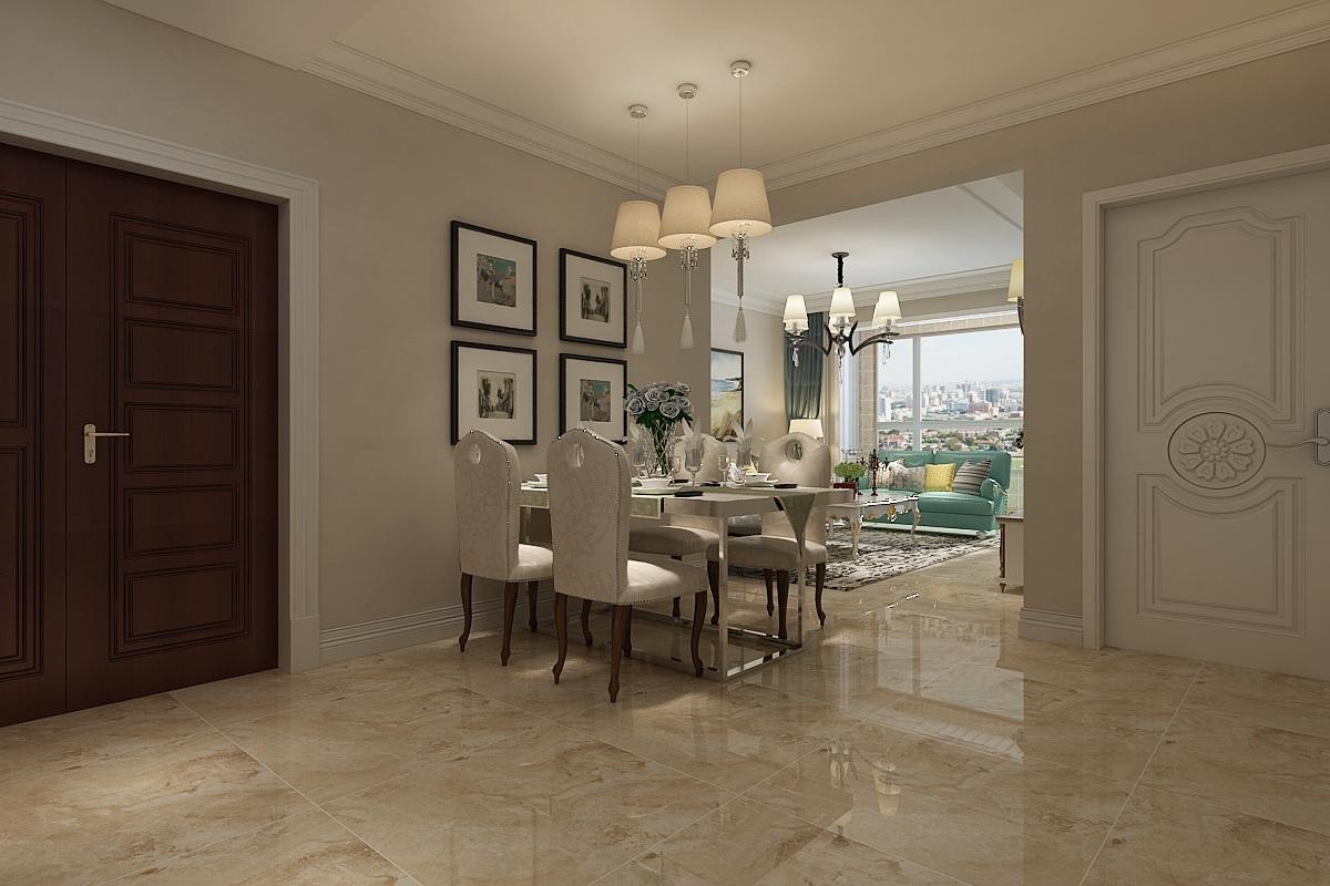 因为空间原因,餐厅摆放在进门左手边位置,与客厅和厨房融为一体,成为