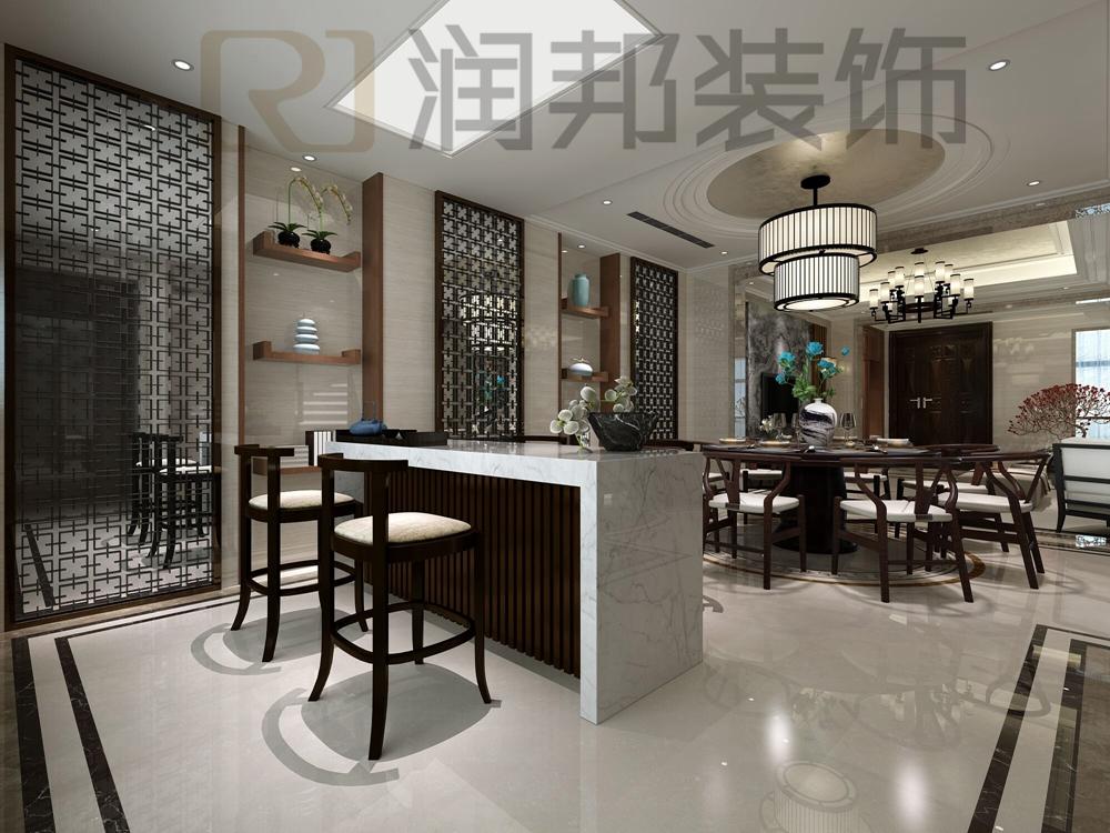 设计风格:现代中式 房屋状况:底层复式 空间面积:220平米 主要建材:大理石砖、天然大理石材质、白色护墙面、不锈钢面、胡桃木饰面、银箔,硬包 本案是一个220平米、南北通透的别墅户型,设计师采用新中式设计风格来跳跃空间的整体性。中国传统居室非常讲究空间的层次感。这种传统的审美观念在新中式装饰风格中,又得到了全新的阐释:依据住宅使用人数和私密程度的不同,需要做出分隔的功能性空间,则采用垭口或简约化的博古架 来区分;在需要隔绝视线的地方,则使用中式的屏风或窗棂,通过这种新的分隔方式,单元式住宅