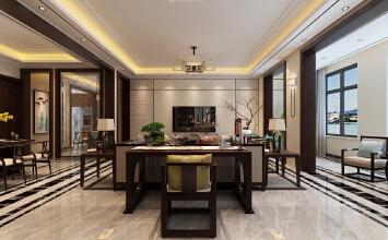 济南海珀天沅小区装修效果图丨190平方四室两厅新中式风格
