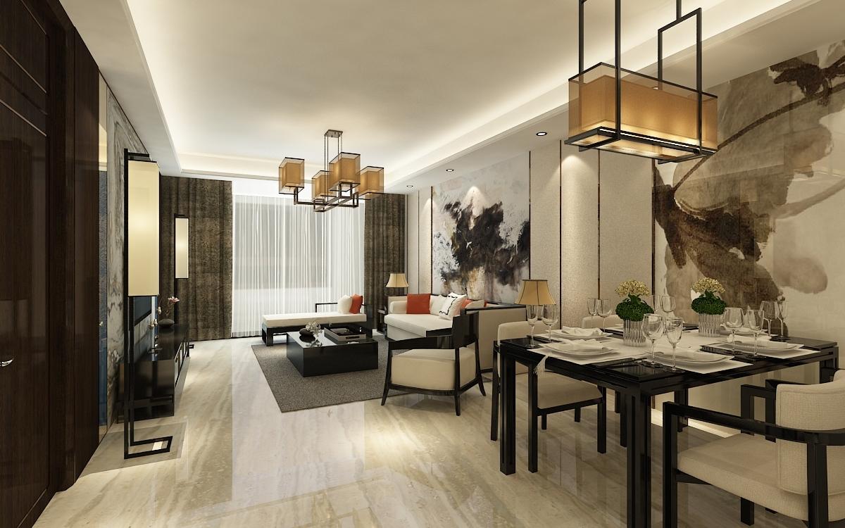 国熙台127㎡三室两厅现代中式风格装修效果图