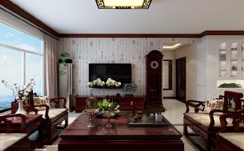 济南山水华府装修效果图丨180平方四室两厅中式风格装修