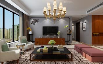 济南山水华府装修效果图丨山水华府175平方四室两厅新中式风格