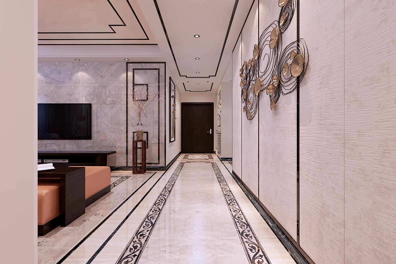 客厅影视墙:大面积的个性灰色瓷砖,搭配个性万字纹演变的不锈钢线条