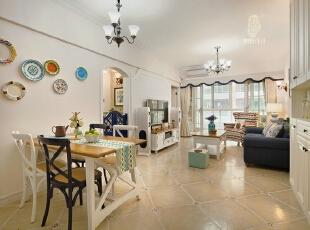 ,客厅,春色,白色,原木色,蓝色,餐台,