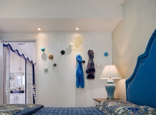 ,卧室,白色,蓝色,灯具,