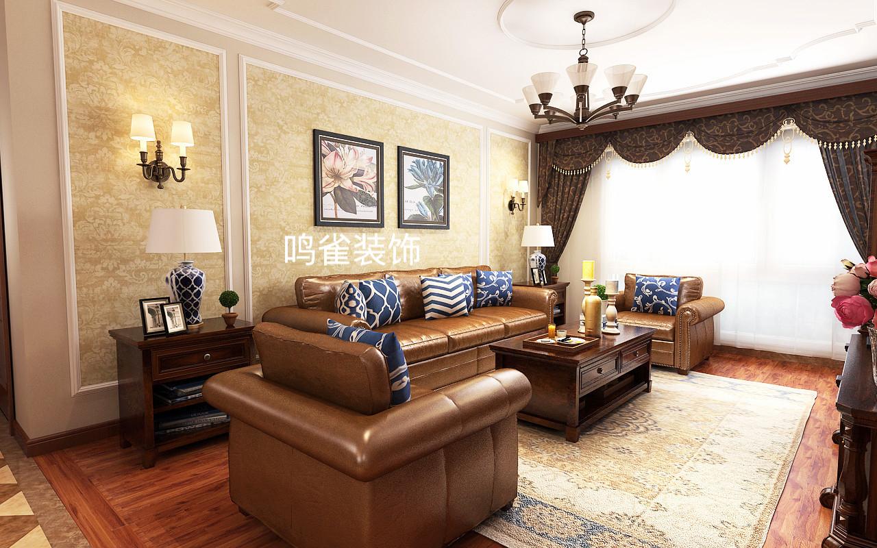 本案为群力中海紫御观邸小区三室一厅装修户型,客厅中皮质的沙发搭配复古的电视柜保留了古典家具的色泽和质感的同时,又适应现代生活空间。 装修地址:中海紫御观邸 设计风格:美式风格 使用面积:100平米 装修公司:鸣雀装饰 预约设计:18724593511