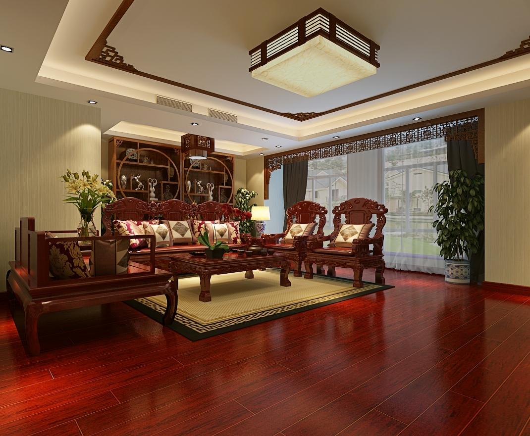 本案总体布局多采用对称的布局方式,格调高雅,沉稳内敛,书卷味道浓,凸显大气,高贵,文雅之氛围。 而在装饰细节上崇尚自然情趣,不用较多色彩装饰,以免打破优雅的情调。色调以沉稳的深色调为主,中式的家具比较深 木地板也是深色红木的色调,这样整个色彩才能协调。装饰手法上多采用借景等手法,以达到移步换景的效果。