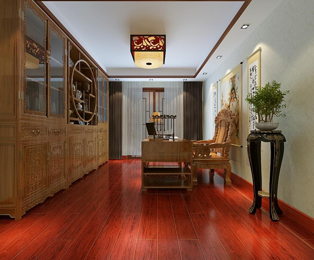 本案总体布局多采用对称的布局方式,格调高雅,沉稳内敛,书卷味道浓,凸显大气,高贵,文雅之氛围。 而在装饰细节上崇尚自然情趣,不用较多色彩装饰,以免打破优雅的情调。色调以沉稳的深色调为主,中式的家具比较深 木地板也是深色红木的色调,这样整个色彩才能协调。装饰手法上多采用借景等手法,以达到移步换景的效果。主要通过 家具(明清家具为主)及饰品来体现。字画、古玩、瓷器、宫灯、博古架、山水盆景等加以点缀,渲染出满堂书香,一堂雅气。
