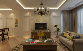 华润装饰金瑞林城三期2室1厅1卫65平米美式装修设计效果图