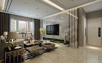 华润装饰哈尔滨江北富力城3室2厅2卫94平米现代装修设计图