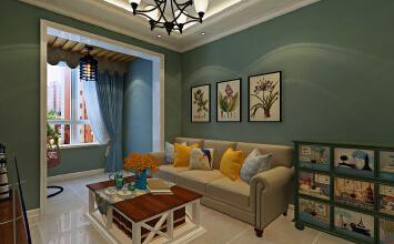 华润装饰哈尔滨道里区名爵公馆2室1厅1卫64平米美式设计装修