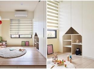 ,儿童房,白色,原木色,窗帘,收纳,