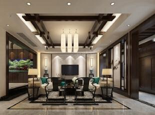 万科颐府新中式风格装修|客厅效果图,客厅,