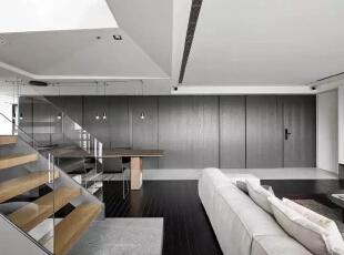 ,客厅,黑白,楼梯,