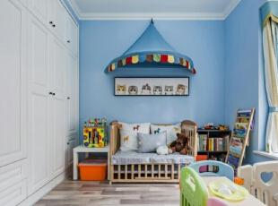 ,儿童房,白色,蓝色,飘窗,衣帽间,收纳,