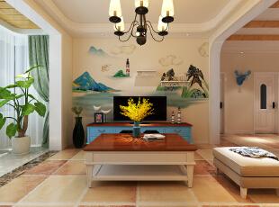 ,客厅,春色,窗帘,墙面,