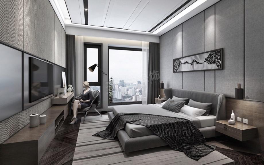 恒大雅苑现代简约黑白灰风格装修设计效果图