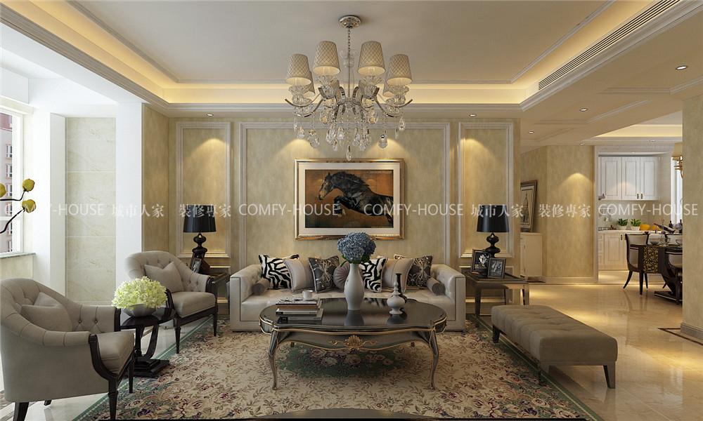 设计说明:整体风格定义为欧式风格,影视墙的设计采用开放漆系列的