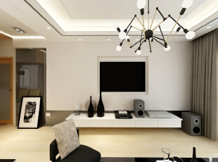 ,客厅,白色,墙面,