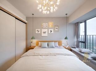 ,卧室,白色,原木色,飘窗,收纳,