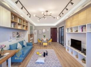 ,客厅,白色,原木色,蓝色,黑白,窗帘,墙面,收纳,灯具,过道,