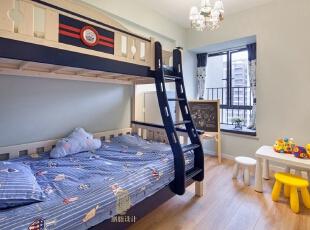 ,儿童房,白色,原木色,蓝色,黑白,窗帘,飘窗,收纳,