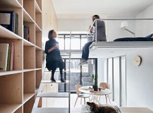 超小型客房,33平方米打造立体的中性空间