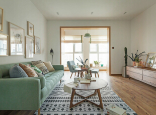,客厅,春色,原木色,墙面,