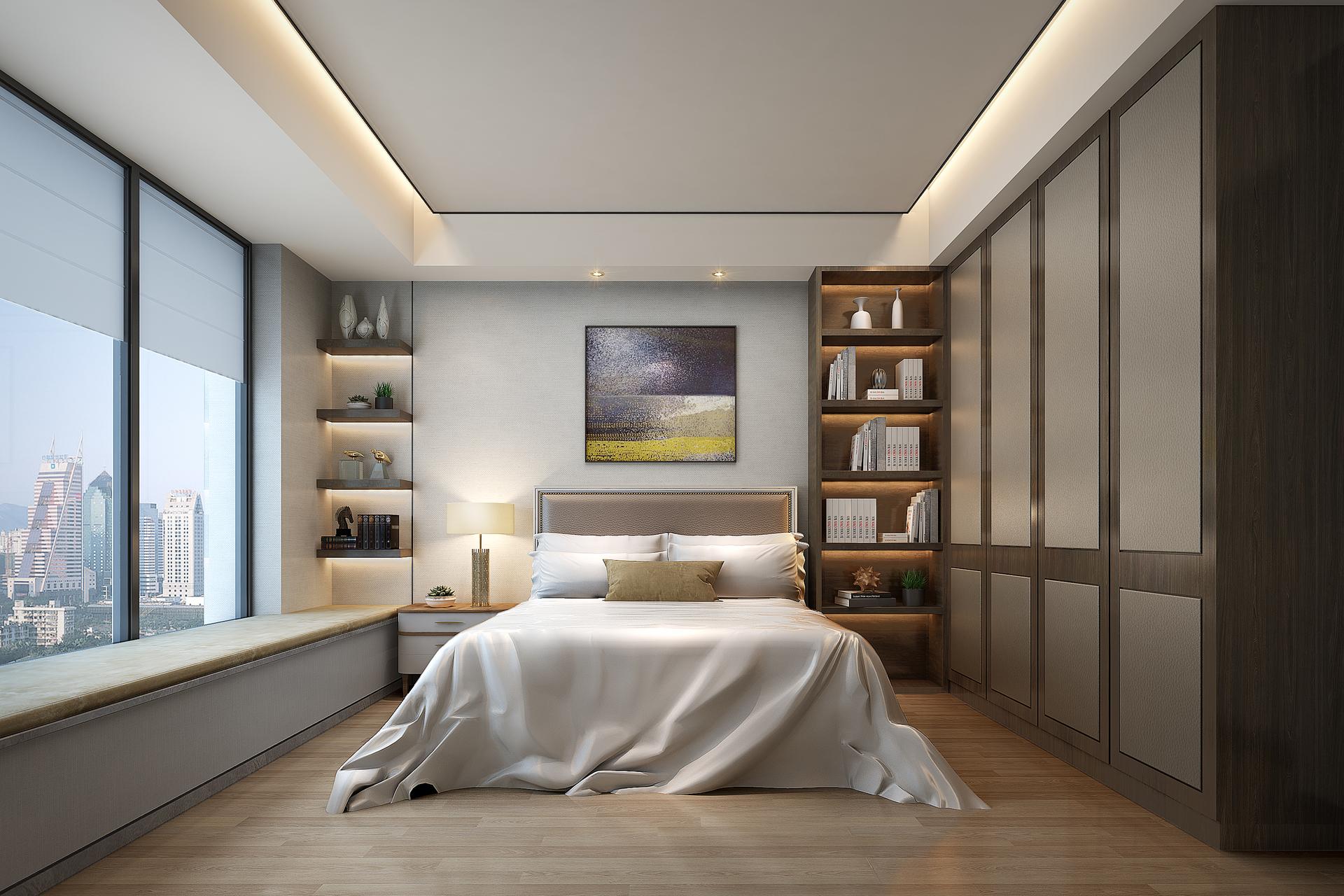 极简样板房设计中最常用的手法,线与面之间的比例关系非常微妙, 通过