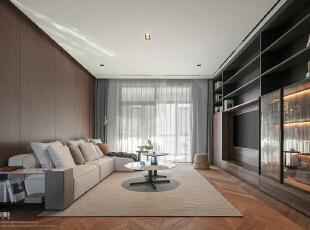 屋主希望客厅要简洁大气 最好电视背景可以留白或做整面的柜子,恰好客厅的尺寸够大 所以,我们在沙发背景做了减法,电视墙做了整面展示柜,客厅,