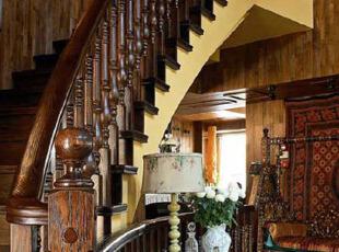 童话般原始生活,美式乡村,原木色,楼梯,