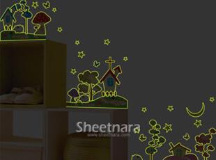 正品时尚韩国进口儿童房花卉卡通DIY组合装饰环保夜光贴WIDS-305,DIY,