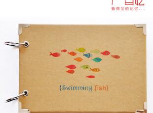 目忆/原创 M(10寸)DIY 半定制粘贴式相册[游泳的鱼] 送角贴2张,DIY,