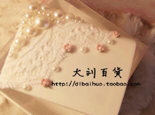{8月蕾丝}花朵珍珠 大蕾丝边 美瞳盒 手工伴侣盒 双联盒原创版,DIY,