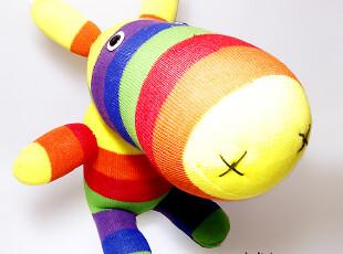 手客岛 原创手工玩偶 彩条大头马 DIY袜子娃娃材料包,DIY,
