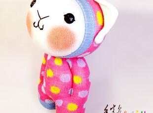 手客岛 原创手工玩偶 粉底彩点摩卡猫 DIY袜子娃娃材料包,DIY,