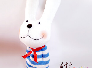 手客岛 原创手工玩偶 蓝色白条纹兔 DIY袜子娃娃材料包,DIY,