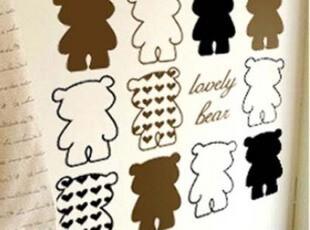 爱心小熊简约时尚卡通自粘DIY创意儿童房 柜子 瓷砖 客厅卧室墙贴,DIY,