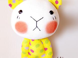 手客岛 原创手工玩偶 黄色彩点波波熊 DIY袜子娃娃材料包,DIY,