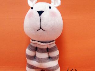 手客岛 原创手工玩偶 灰色白条纹阿呆熊 DIY袜子娃娃材料包,DIY,