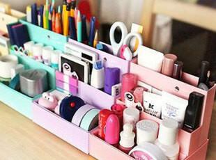 沪68包邮创意咖啡蛋糕收纳整理盒 韩国DIY化妆品储物盒桌面收纳盒,DIY,
