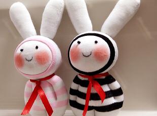 手客岛 原创手工玩偶 DIY袜子娃娃材料包 情侣咪咪兔,DIY,