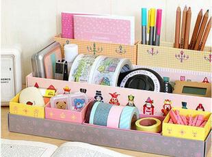 桌面收纳盒 韩国 DIY纸质桌面收纳盒|杂物整理盒 化妆品收纳盒,DIY,