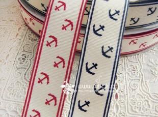 DIY手工饰品辅料 姚明织带丝带2.5cm红蓝船锚单面印花 高档罗纹带,DIY,