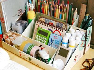 韩国化妆品收纳盒 DIY纸质9格桌面收纳盒 杂物收纳 化妆品整理盒,DIY,