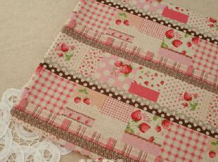 DIY手工布料 日单棉麻面料 草莓格子蕾丝拼布(粉色款),DIY,