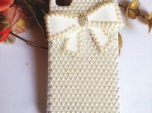 新款满钻珍珠蝴蝶结清新diy定制贴水钻iphone4S手机壳保护套,DIY,