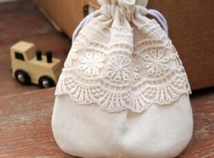 手工布艺材料包 素麻蕾丝束口袋 手机袋 收纳袋,DIY,