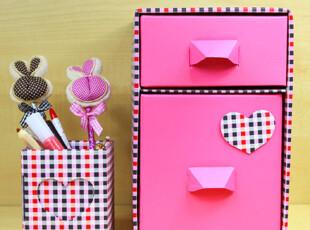 办公桌面收纳盒 抽屉韩国纸质护肤品收纳盒 DIY整理盒两抽屉笔筒,DIY,